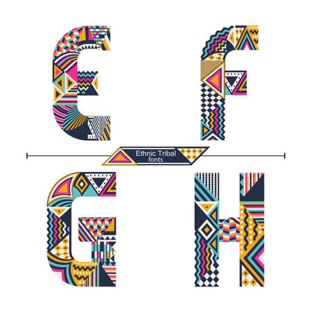 Vector graphic alphabet in a set E,F,G,H, with Ethnic tribal color style 矢量图像