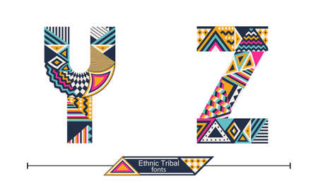 Vector graphic alphabet in a set Y,Z, with Ethnic tribal color style