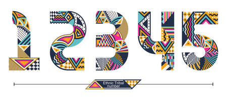 Vector graphic number in a set 1,2,3,4,5, with Ethnic tribal color style