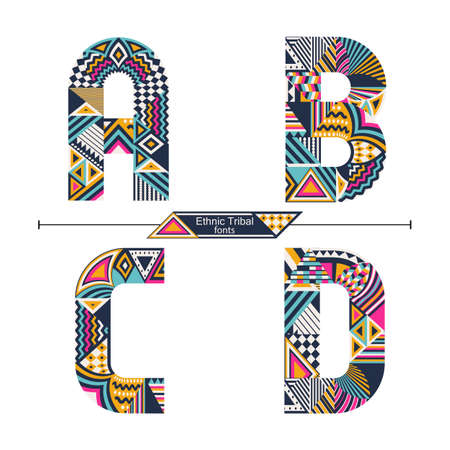 Vector graphic alphabet in a set A,B.C,D, with Ethnic tribal color style