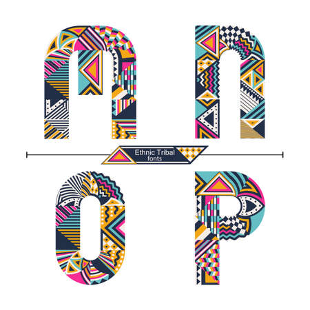 Vector graphic alphabet in a set M,N,O,P, with Ethnic tribal color style 矢量图像