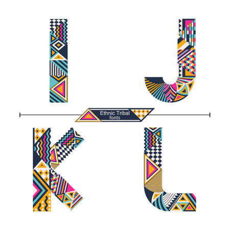 Vector graphic alphabet in a set I,J,K,L, with Ethnic tribal color style