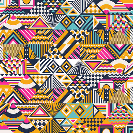 Ethnic abstract seamless pattern. Geometrical Ethnic Print Ornament with Triangles, Rhombus and Stripes