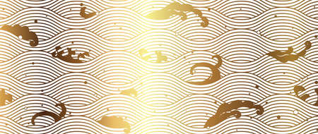 Japanese wave golden background. Gold texture in vintage vector style.