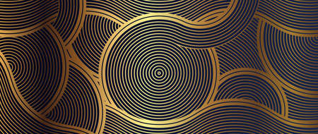 Luxury wallpaper design with Golden wave. Vector illustration.