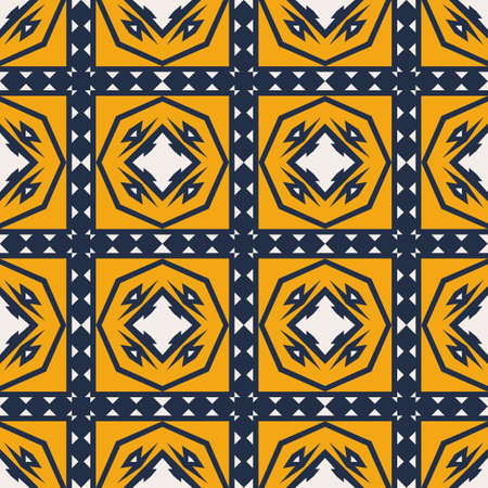 Geometric pattern seamless vector background. Orange, blue and white texture. Graphic modern pattern