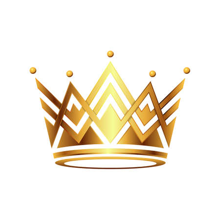 Realistic gold crown. Royal vintage golden jewel crown vector isolated. 矢量图像