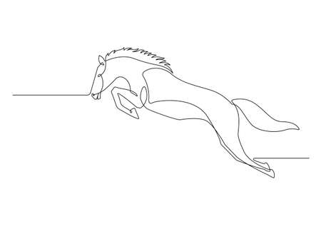 Continuous line drawing jumper of horse hand-drawn line art minimalist design. vector illustration. 矢量图像