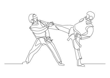 Continuous line drawing of Taekwondo fighting hand-drawn line art minimalist design. vector illustration. 矢量图像