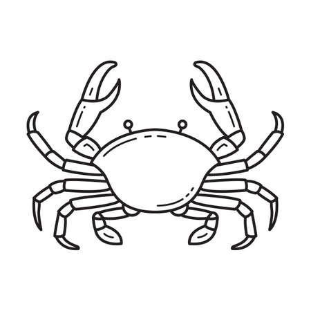 Crab black line icon design on white background. Crab vintage line art label illustration vector.