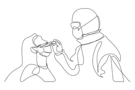 Continuous line drawing of Medical worker taking a swab for  virus. hand-drawn line art minimalist design. vector illustration.