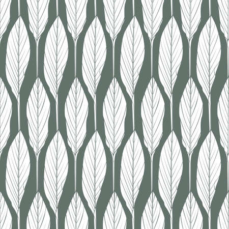 Geometric leaves vector seamless pattern. Abstract botanical vector texture. Leaf background.
