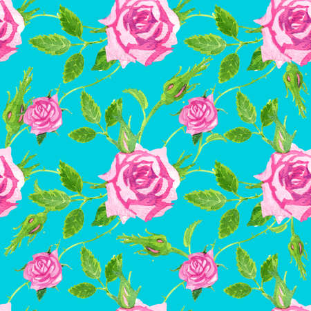 Bright seamless pattern on a dark green background of delicate pink watercolor roses.