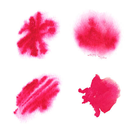 Red watercolor spot set. Bright textured watercolor abstract background. Foto de archivo