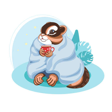 Illustration in blue colors of a charming animal chipmunk for nursery, posters, stickers, postcards, printing on fabric.