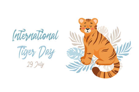 Vector illustration of a cute tiger among tropical leaves of palm and monstera. Animal protection. Ecology. International Tiger Day. World wildlife. For poster, postcard, banner, animal welfare merch
