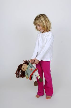 phlegmatic: little girl in pajama with puppet