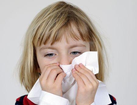 blond little girl with handkerchief