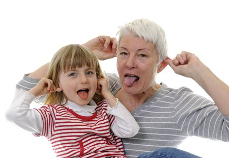 protrude: grandma and granddaughter make faces