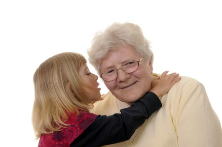 grandma and granddaughter whispering Stock Photo - 7064958