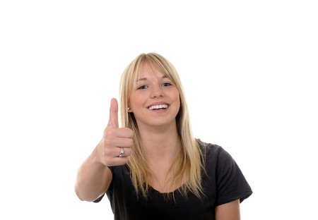 young blond womwn shows thumb up photo