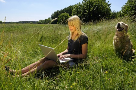 young woman with laptop and dog on a meadow Stock Photo