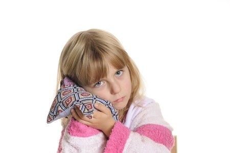 little girl has earache Stock Photo