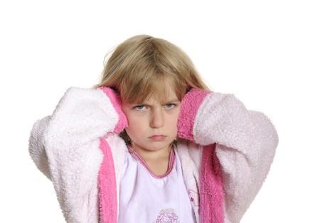 little girl has earache Фото со стока