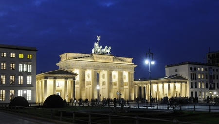 Brandenburg Gate in Berlin at night Stock Photo - 8309428