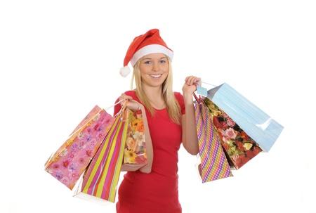 christmas girl with shopping bags photo