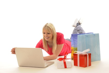 young woman while online-shopping photo