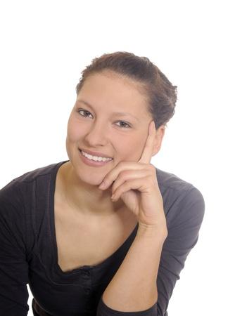 beautiful brunette woman laughing Stock Photo - 8924252