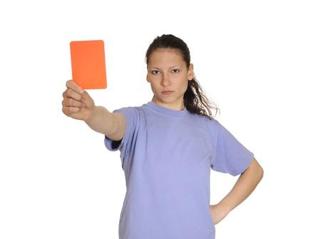 young woman shows red card photo