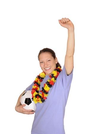 young woman as soccer fan photo