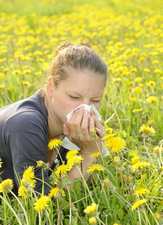 al�rgico: mujer joven con pa�uelo en una pradera Foto de archivo