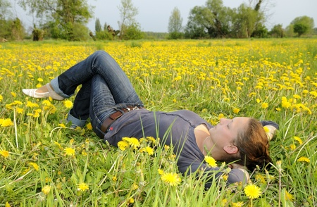 young woman lies on a flower meadow photo