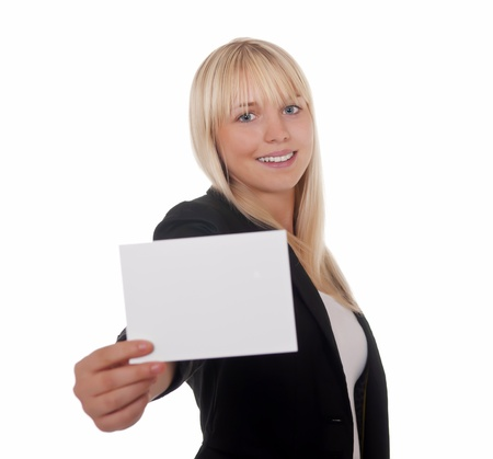 young woman with white business card photo