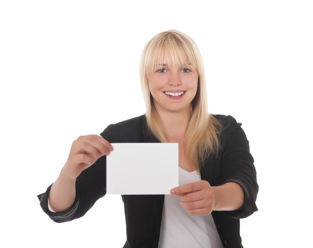 young woman with white business card Stock Photo - 10450115