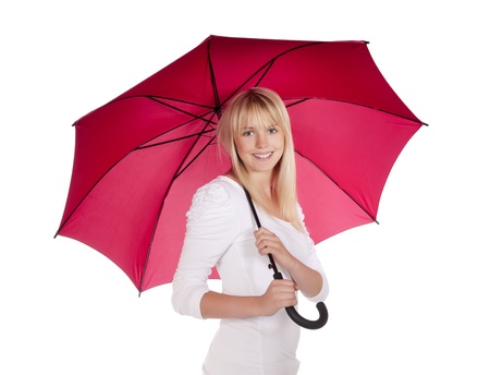 young woman with red umbrella Stock Photo