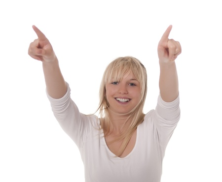 soulfulness: laughing young woman shows finger up Stock Photo