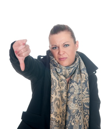 young woman showing thumbs down Stock Photo - 11863694