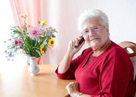 grannies:  old woman with cell phone in the living room Stock Photo