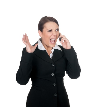 stressed businesswoman with mobile phone photo