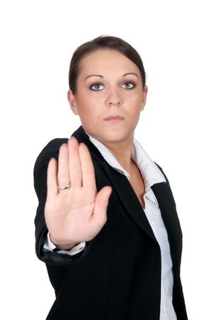 self defense: businesswoman shows stop