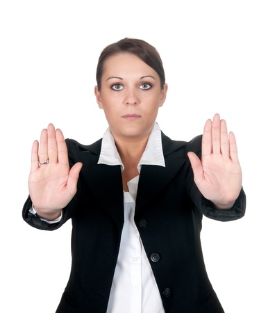 businesswoman shows stop  Stock Photo