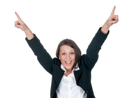 jubilation: happy businesswoman cheering