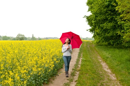 young woman walking with umbrella  photo