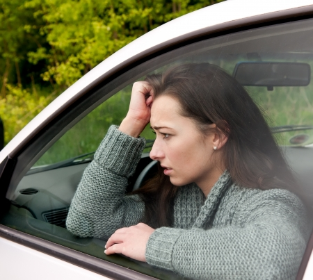 afraid young woman in the car Stock Photo - 13859511