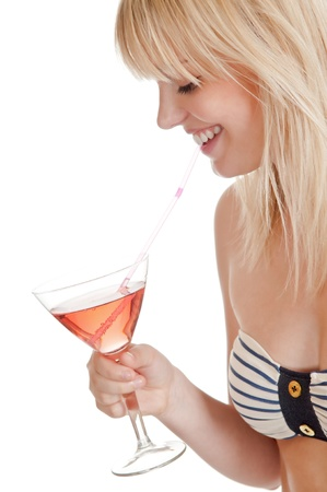 pretty young blond woman with cocktail photo