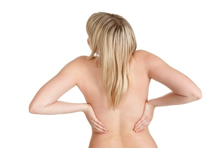 young woman has back pain Stock Photo - 14151237
